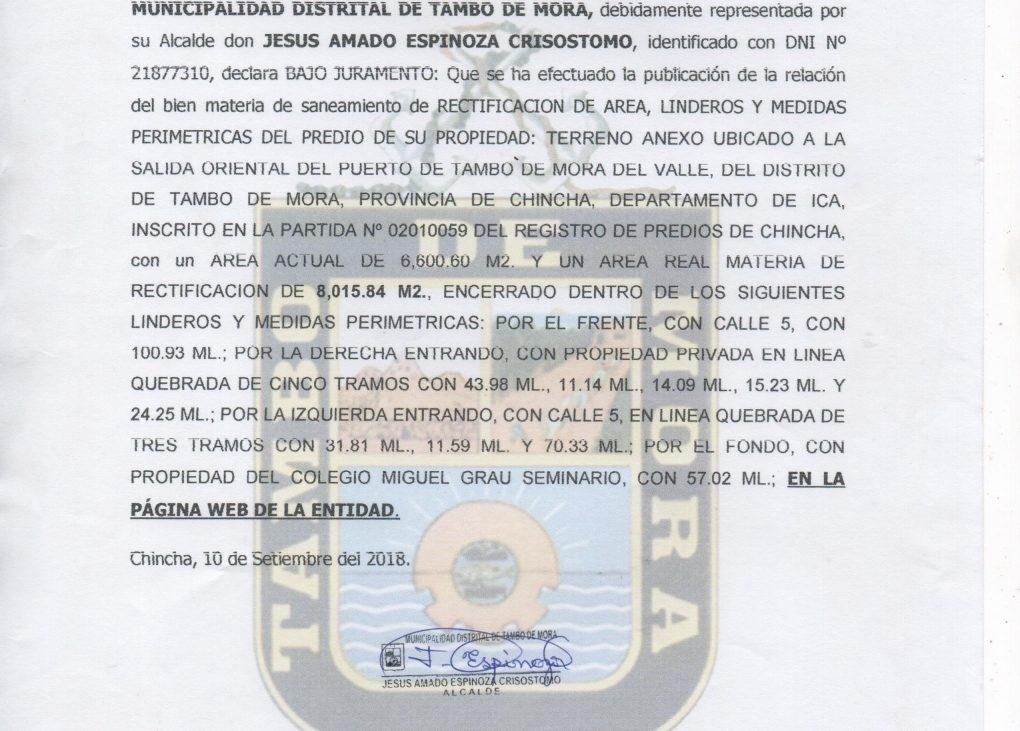 SANEAMIENTO DE RECTIFICACION